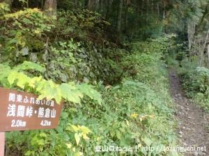 上川乗の浅間峠・熊倉山登山口から見る登山道と道標