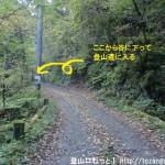 笹平の市道山の登山道入口前の林道
