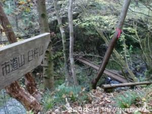 笹平の林道奥にある市道山の登山口から見る登山道