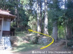 羽黒三田神社の本殿右横から登山道に入る
