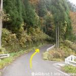 境橋バス停から体験の森に行く途中の紛らわしい分岐