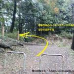 永山総合グラウンドからの遊歩道が青梅丘陵ハイキングコースに合流するところ