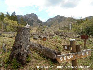 西岳登山口(西峰・ローソク岩分岐コース)から見る二子山