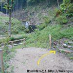 あしがくぼキャンプ場の富士浅間神社の鳥居から登山道に入るところ