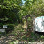 茶臼山の籾山峠口ハイキングコース入口に設置されている案内板