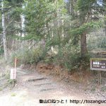 もみの木駐車場(八曽モミの木キャンプ場)の売店向かい側にある八曽山の登山道入口