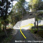 呼間バス停から笹頭山の登山口に向かう途中の林道入口手前のT字路
