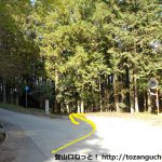 田峯観音から笹頭山の登山口に行く途中の分岐を右へ