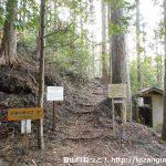 白鳥神社の本殿右側にある白鳥山への登山道入口