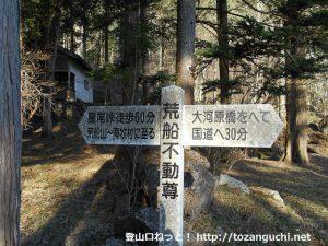 荒船不動尊に設置されている荒船山の登山道を示す道標
