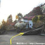 桧沢岳の登山口となる最奥の民家の手前の車道の終点