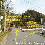 黒瀧山の九十九谷登山口と大屋山の登山口への分岐T字路