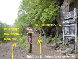 富士山の吉田ルートの泉ヶ滝分岐