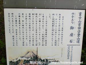 富士山吉田口登山道の御座石(四合五勺)の案内板