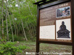 富士山の吉田口登山道の見晴らし茶屋跡の案内板