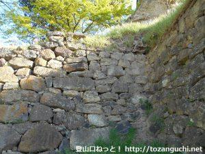 上田城の真田時代と仙石時代の積み跡がわかる石垣の境界