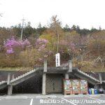 三峯神社の大駐車場にある雲取山への登山道の入口の階段