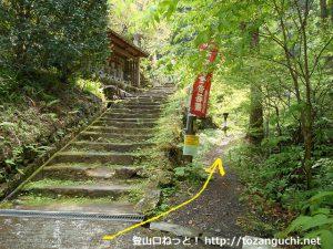 水潜寺の本堂下の破風山(札立峠)への登山道分岐