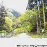 武甲山の表参道コース登山口に向かう途中の採石場の最奥部から林道に入るところ