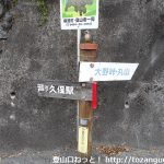 国道299号線沿いに設置されている「大野峠・丸山」の登山道を示す道標