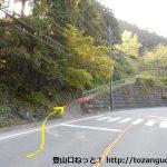 国道299号線の休暇村奥武蔵の手前付近から高山不動への登山コースに入るところ