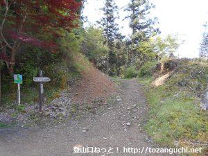 福徳寺の本堂右手にあるユガテに向かうハイキングコース(古道飛脚道コース)入口