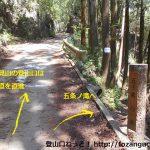 物見山の登山口に向かう林道の途中にある五常ノ滝の入口前