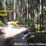 物見山の登山口に向かう林道の途中から五常ノ滝の方に入るところ