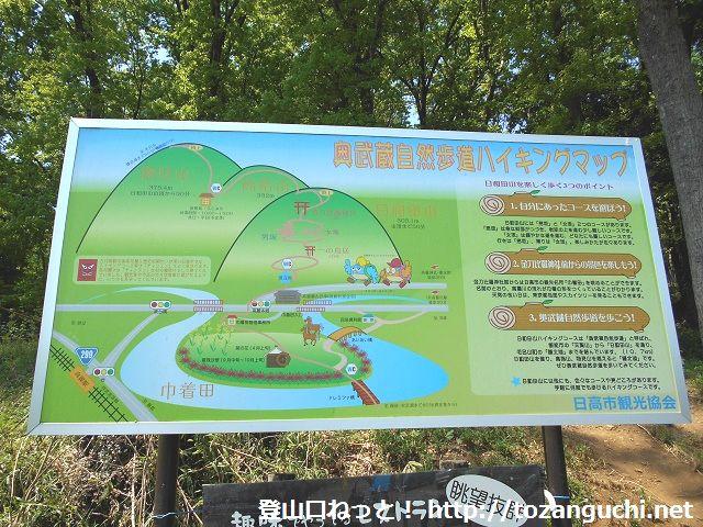 日和田山登山口に設置されているハイキングコースの案内板