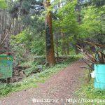 金鑚神社の本殿左手にある御嶽山のハイキングコース入口