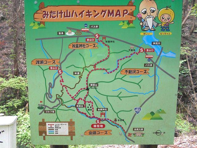 金鑚神社の本殿左手にある御嶽山のハイキングコース入口に設置してある登山コースの案内板