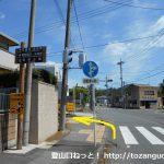 桐生第一高校北側で左折して小路に入る