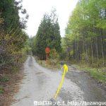秋小屋沢橋の手前の林道分岐