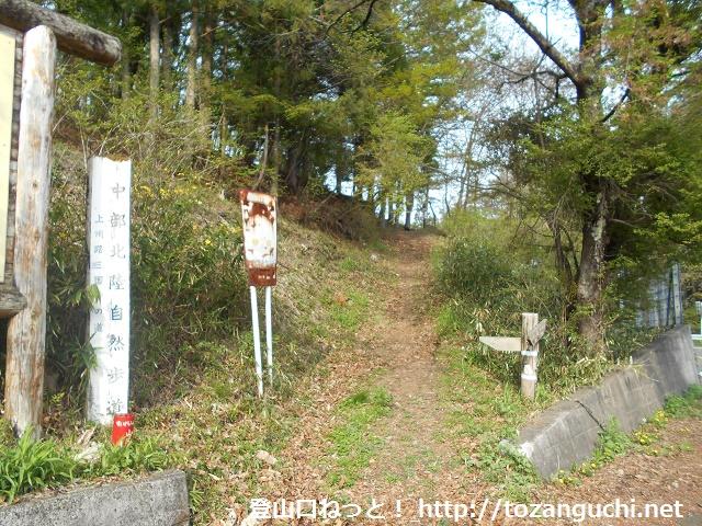 永井宿郷土館の近くにある旧三国街道の登山道入口
