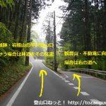 岩櫃城跡の平沢登山口に行く途中の観音山への分岐
