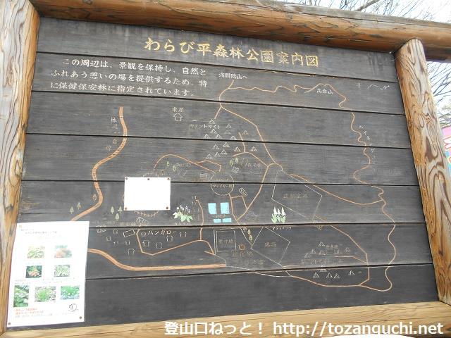 わらび平森林公園キャンプ場の案内板
