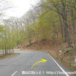 国道406号線の須賀尾峠にある丸岩登山口前