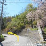 栗生バス停前の車道を山側に進む