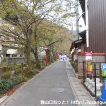 城崎温泉の小桜橋を渡って川沿いの小路を進む
