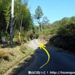 大森神社から東郷山の登山口に行く途中の林道の入口