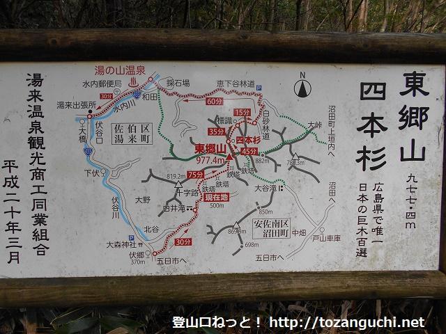 東郷山の登山口に設置されている登山コースの案内板
