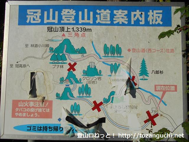 吉和冠山の登山コースの案内板