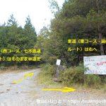 犬伏山の登山口の東ルートと西ルートの分岐地点と登山コースの案内板
