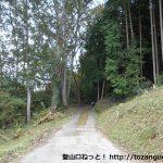 岳山の水永コースの入口となる林道の入口
