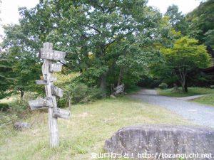 ひろしま県民の森の芝生広場に設置されている道標