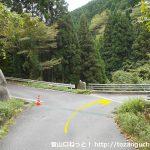 勝山美しい森に行く途中のループ橋のところで車道に出合うところ