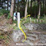 湯本神社本殿左手にある雨乞山への登山コースの入口