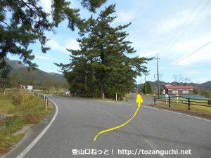 犬挾峠の下蒜山登山口に行く途中の分岐