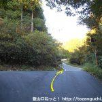 泉嵓神社の本殿から更に林道を上がったところの林道合流地点
