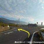 広戸北バス停前の車道を東に進み県道450号線に出合ったら左折